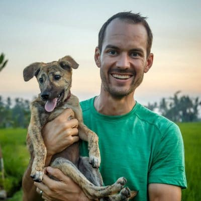Mitch with his pup Sunny in Bali