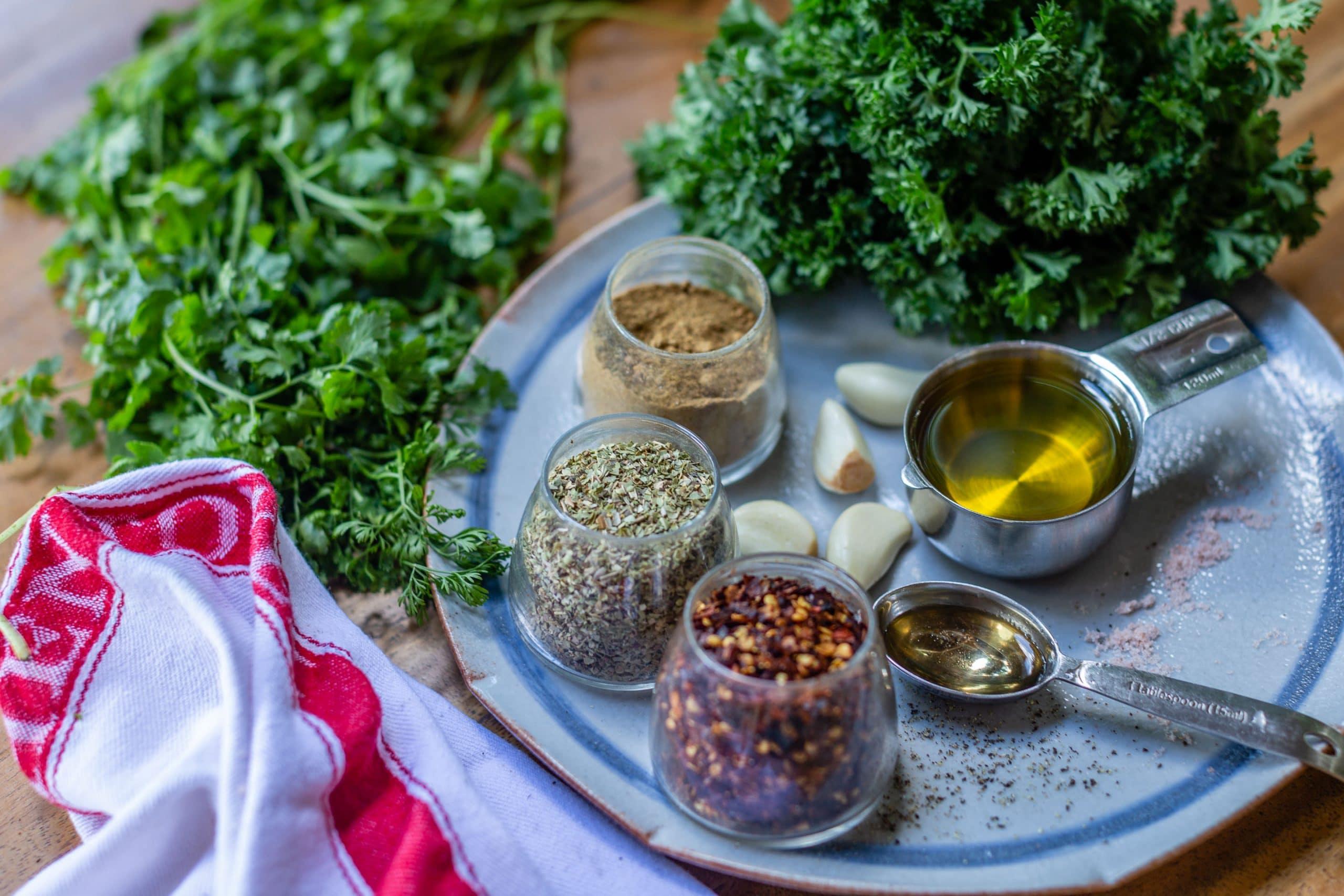 Chimichurri Sauce with Cilantro Ingredients