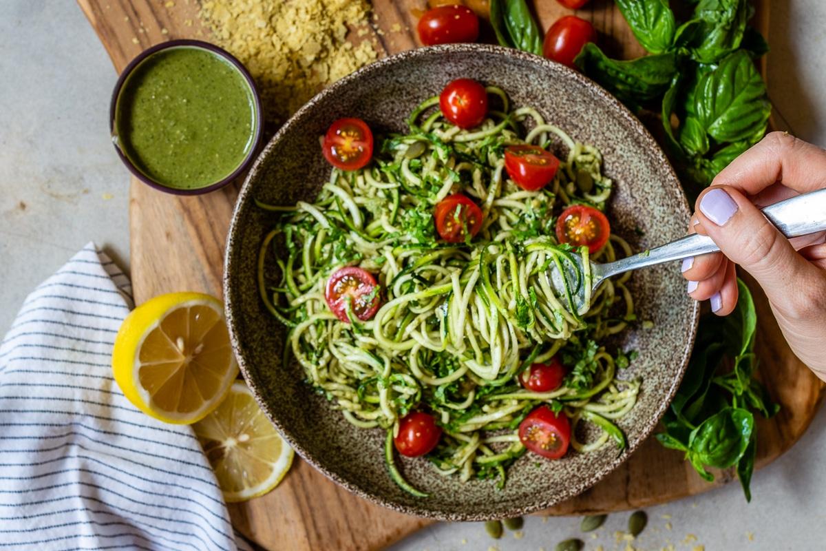 Zucchinni Noodles with Pesto